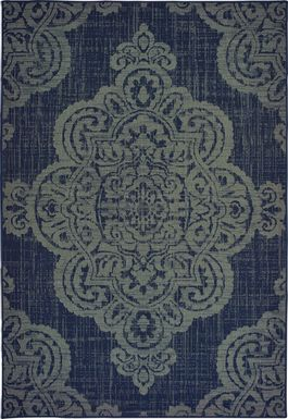 Hamiller Blue 6'7 x 9'6 Indoor/Outdoor Rug