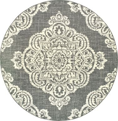 Hamiller Gray 7'10 Round Indoor/Outdoor Rug