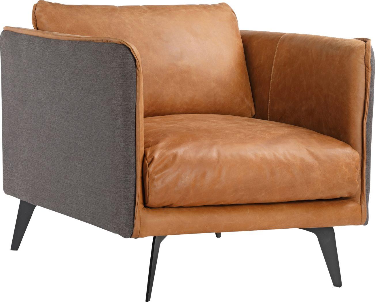 Hamor Orange Leather Accent Chair