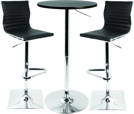 Hampden Black 3 Pc Bar Height Dining Set