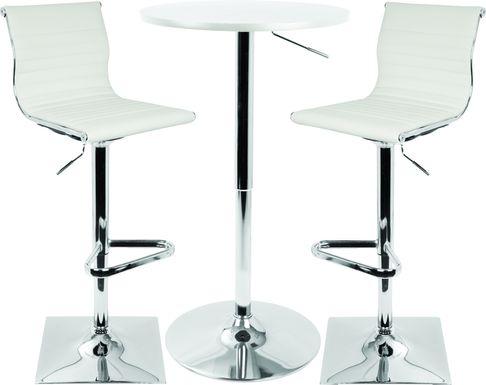 Hampden White 3 Pc Bar Height Dining Set