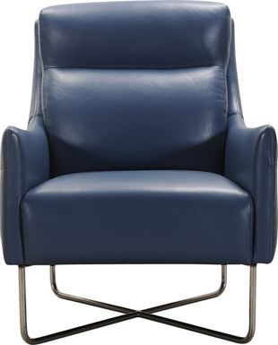 Hargan Indigo Leather Accent Chair