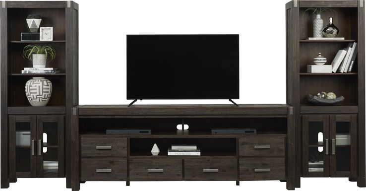 Hidden Springs II Espresso 3 Pc Wall Unit with 84 in. Console
