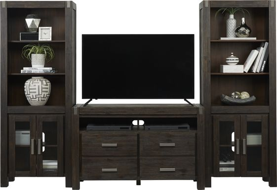 Hidden Springs II Espresso 3 Pc Wall Unit with 50 in. Console