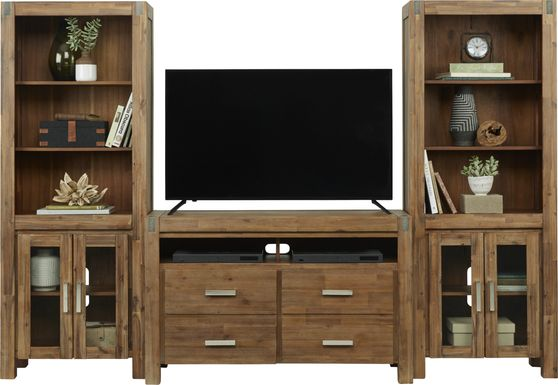 Hidden Springs II Tan 3 Pc Wall Unit with 50 in. Console
