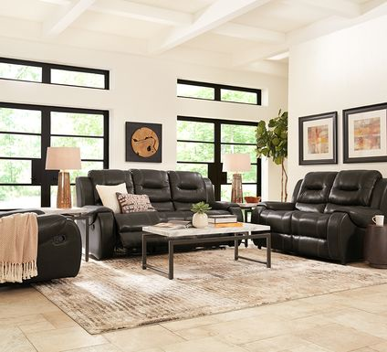 High Plains Black Leather 2 Pc Living Room with Reclining Sofa