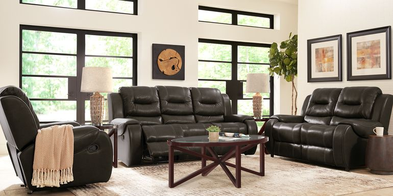 High Plains Black Leather 5 Pc Living Room with Reclining Sofa