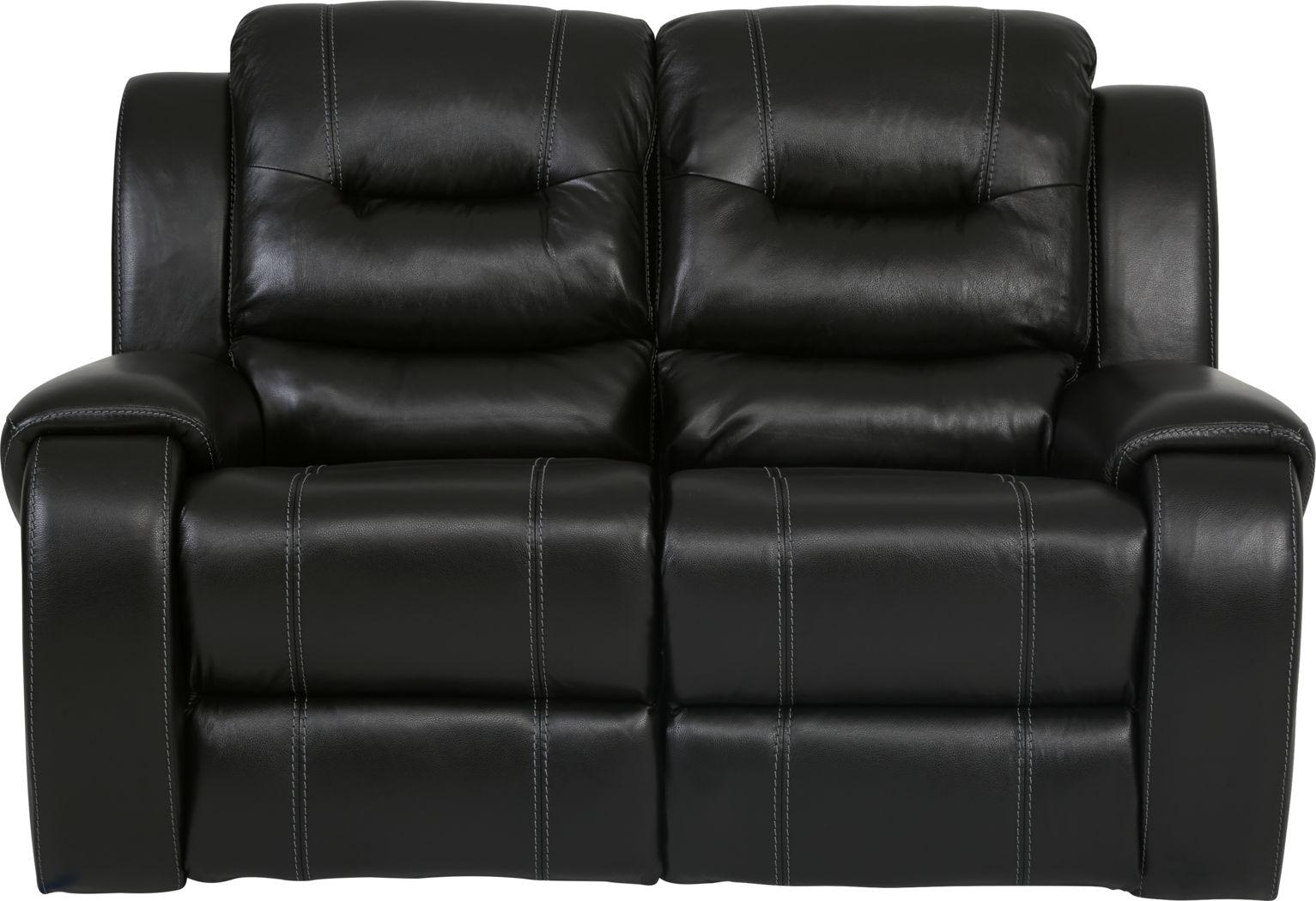 High Plains Black Leather Loveseat