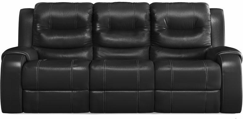 High Plains Black Leather Power Reclining Sofa
