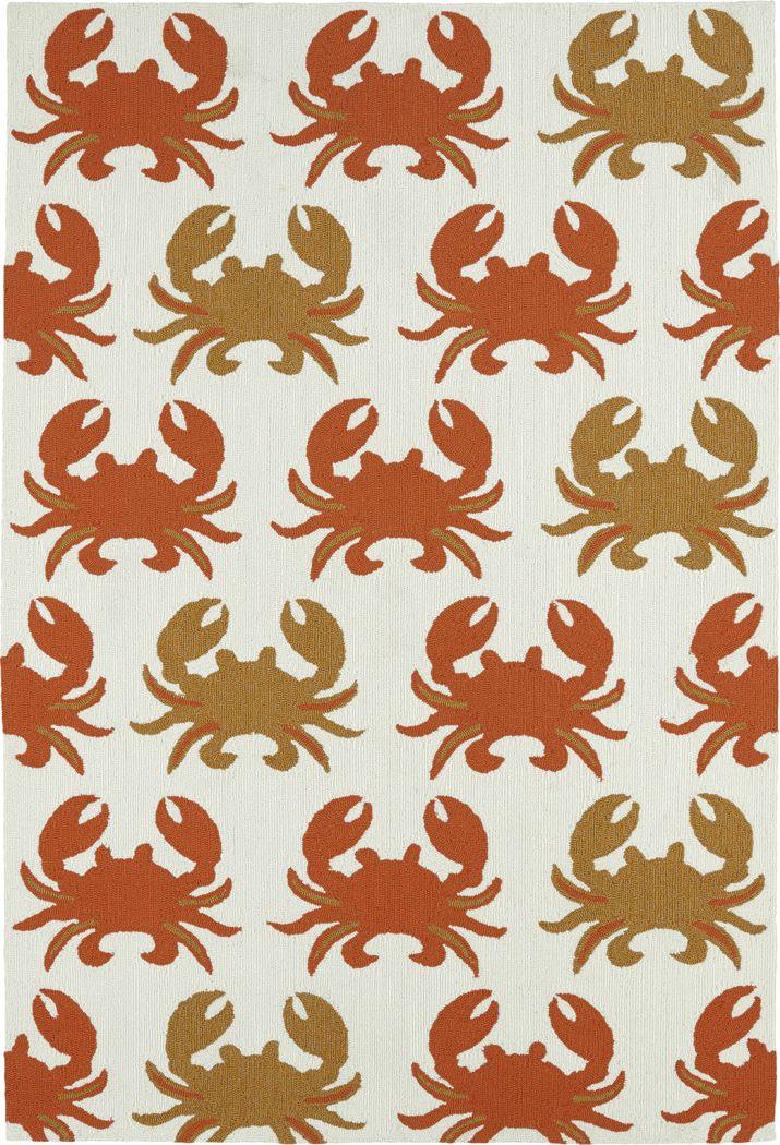 Highland Beach Orange 7'6 x 9' Indoor/Outdoor Rug