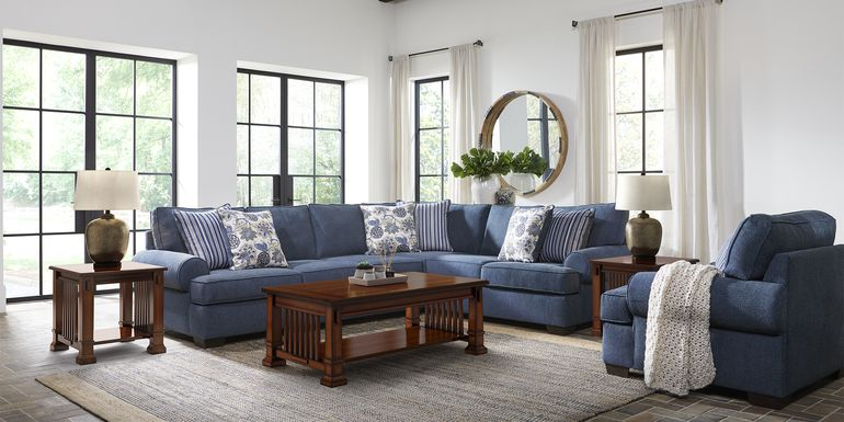 Highland Lakes Blue 5 Pc Sectional Living Room