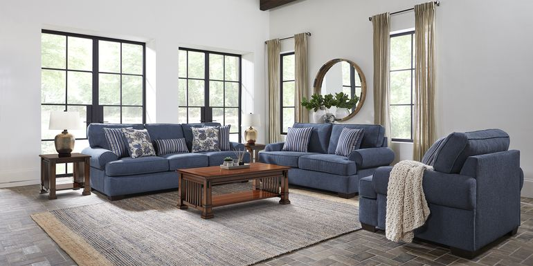 Highland Lakes Blue 7 Pc Living Room
