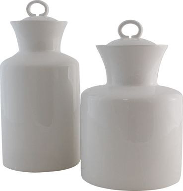 hillda white canister set of 2