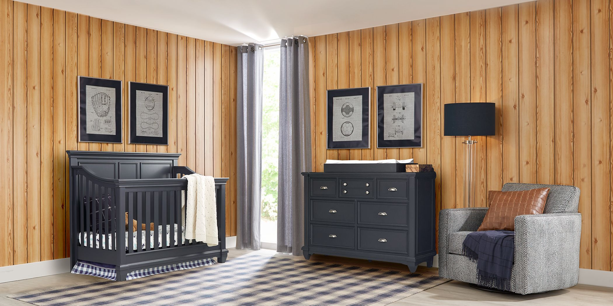 Hilton Head Graphite 5 Pc Nursery with Toddler Rails