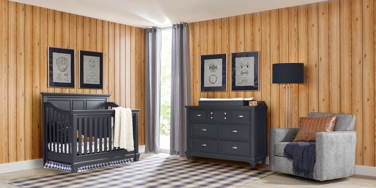 Hilton Head Graphite 5 Pc Nursery with Toddler Rails