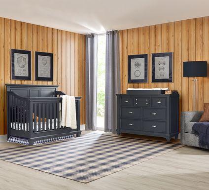 Hilton Head Graphite 6 Pc Nursery with Toddler & Conversion Rails