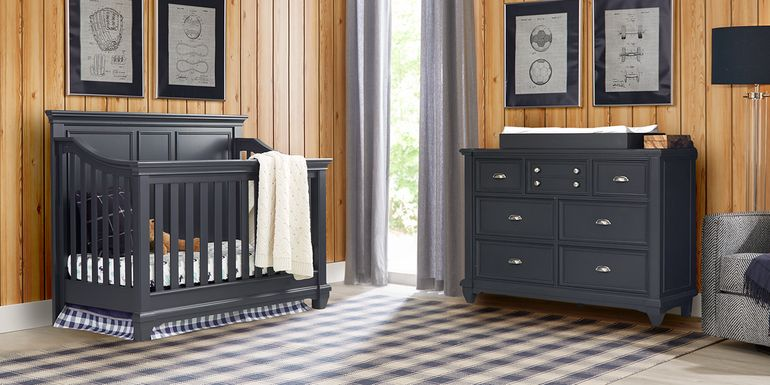 Hilton Head Graphite 6 Pc Nursery with Toddler & Conversion Rails