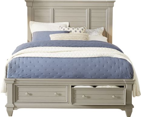 Hilton Head Gray 3 Pc Queen Panel Bed with Storage