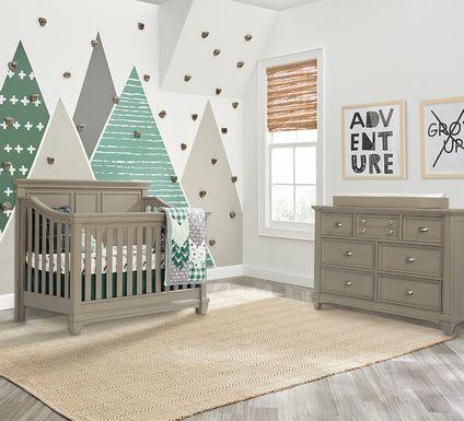 Hilton Head Gray 6 Pc Nursery with Toddler & Conversion Rails