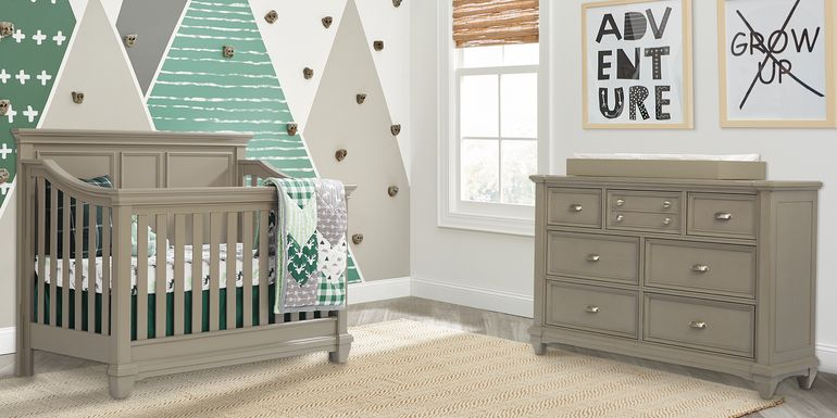 Hilton Head Gray 6 Pc Nursery with Toddler & Conversion Rails
