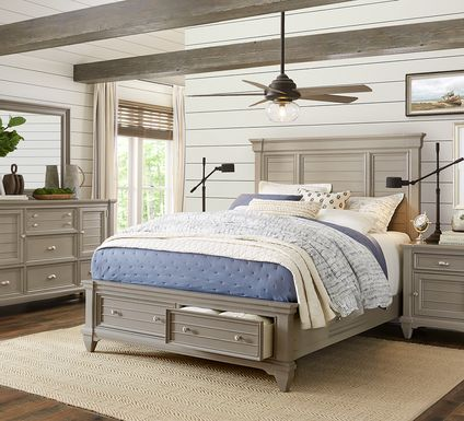 Hilton Head Gray 7 Pc King Storage Bedroom