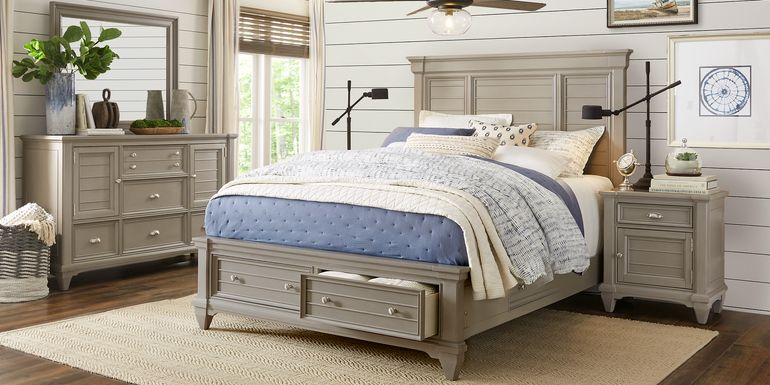 Hilton Head Gray 7 Pc Queen Storage Bedroom