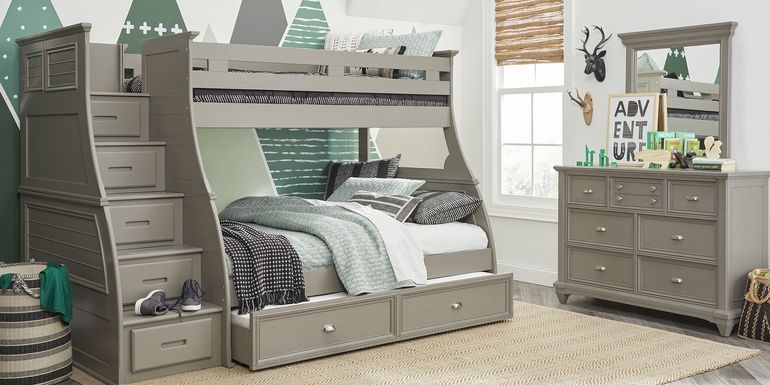 Hilton Head Gray Twin/Full Step Bunk