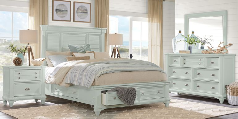 Hilton Head Mint 5 Pc Queen Storage Bedroom