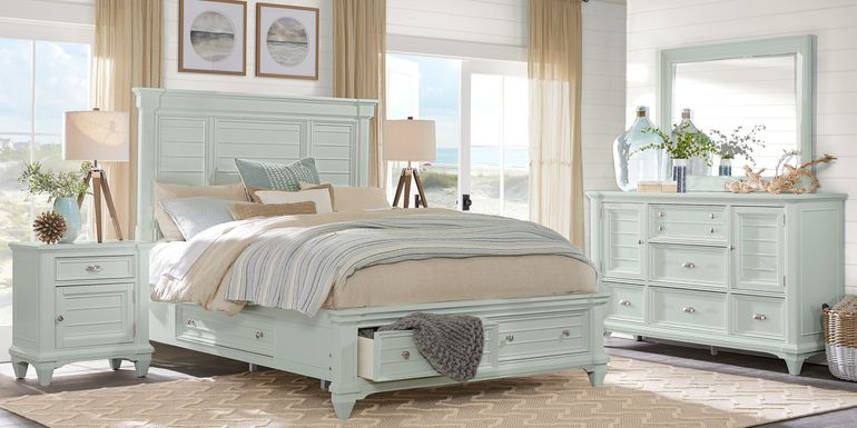 Hilton Head Mint 7 Pc King Storage Bedroom
