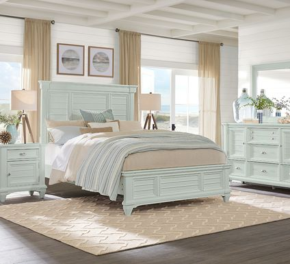 Hilton Head Mint 7 Pc Queen Panel Bedroom