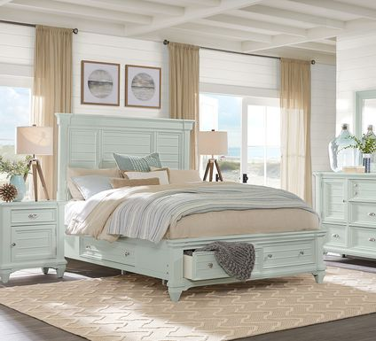 Hilton Head Mint 7 Pc Queen Storage Bedroom