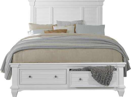 Hilton Head White 3 Pc King Panel Bed with Storage