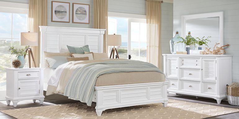 Hilton Head White 5 Pc King Panel Bedroom