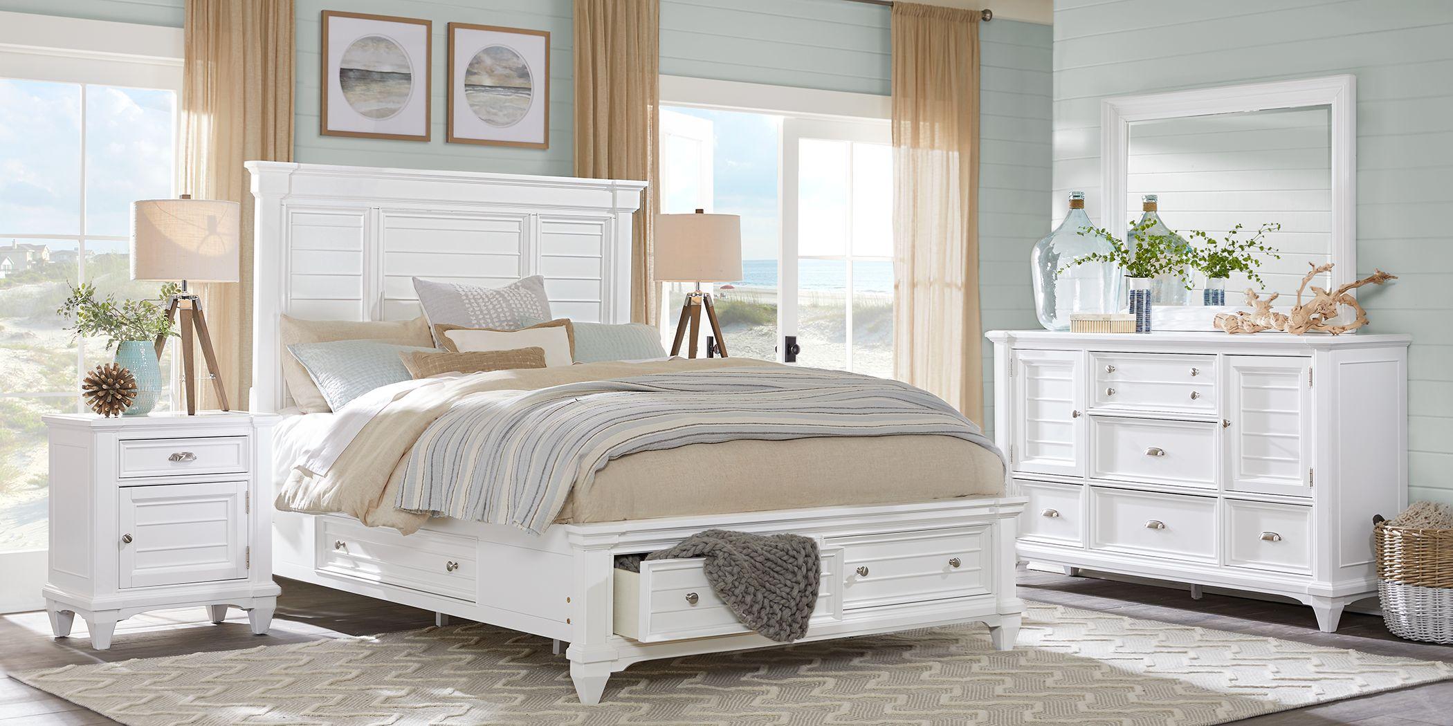 Hilton Head White 5 Pc King Storage Bedroom