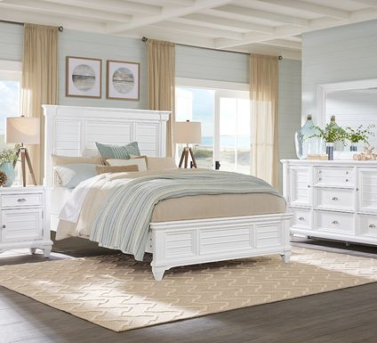 Hilton Head White 5 Pc Queen Panel Bedroom