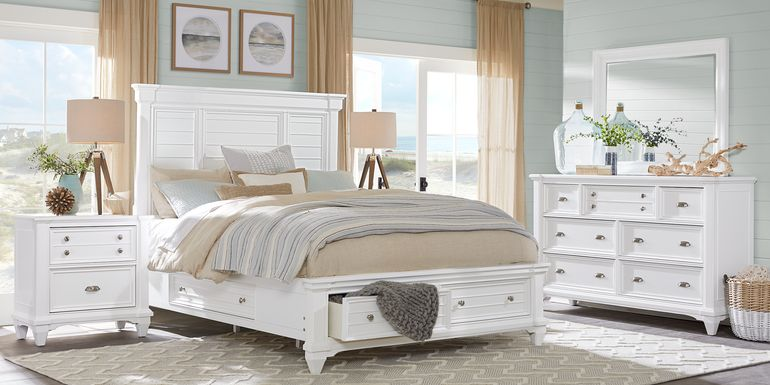 Hilton Head White 5 Pc Queen Storage Bedroom