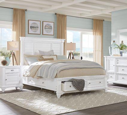 Hilton Head White 5 Pc Queen Storage Bedroom