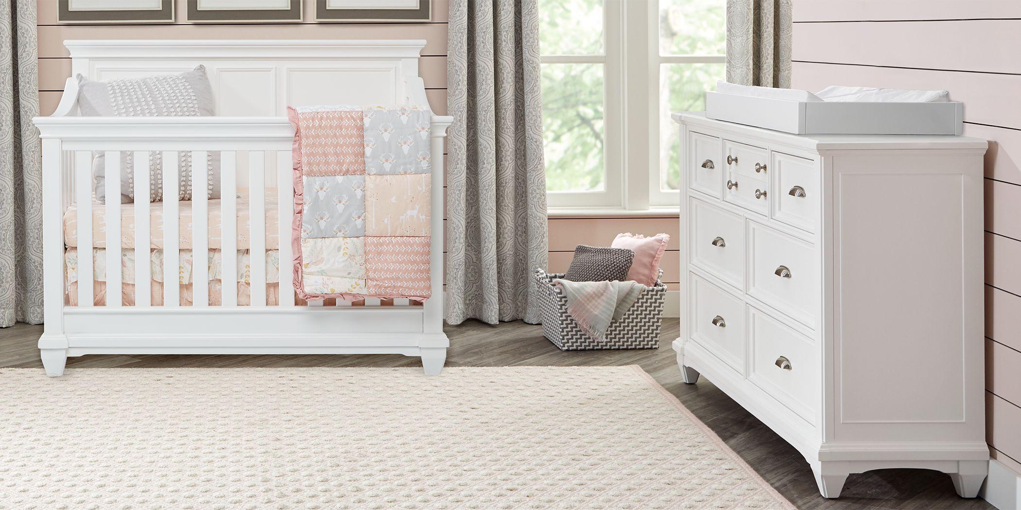 Hilton Head White 6 Pc Nursery with Toddler & Conversion Rails