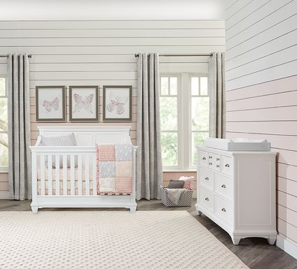 Hilton Head White 6 Pc Nursery with Toddler & Conversion Rails