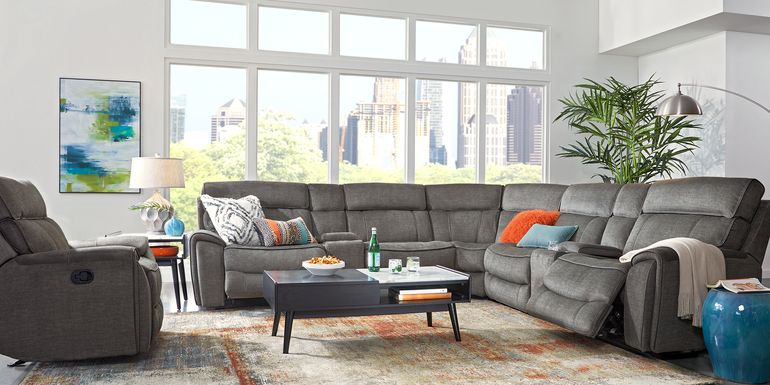 Hosford Dark Gray 7 Pc Reclining Sectional
