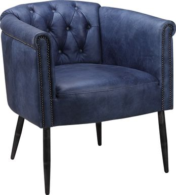 Hunston Blue Leather Accent Chair