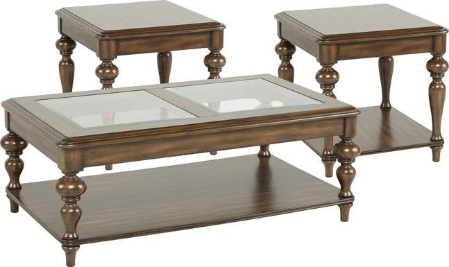 Hutton Brown 3 Pc Table Set