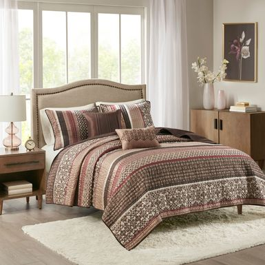 Huxley Red 5 Pc King Coverlet Set