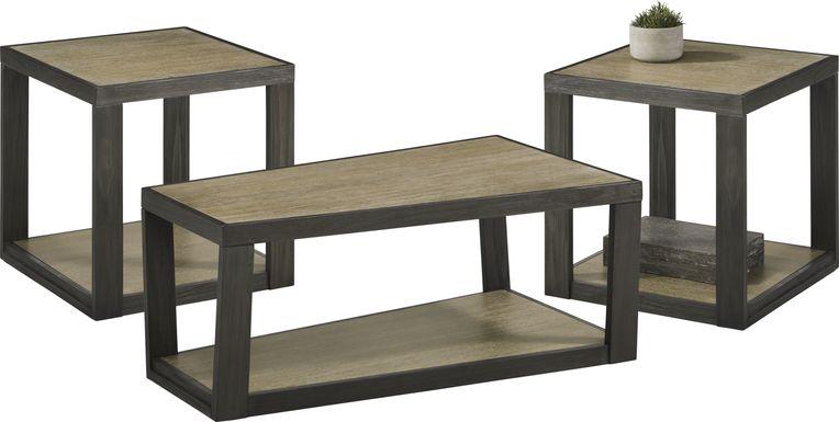 Isley Dark Brown 3 Pc Table Set