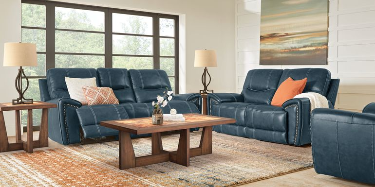 Italo Blue Leather 3 Pc Living Room with Reclining Sofa