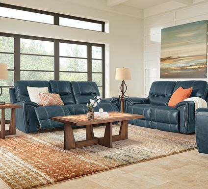 Italo Blue Leather 7 Pc Living Room with Reclining Sofa
