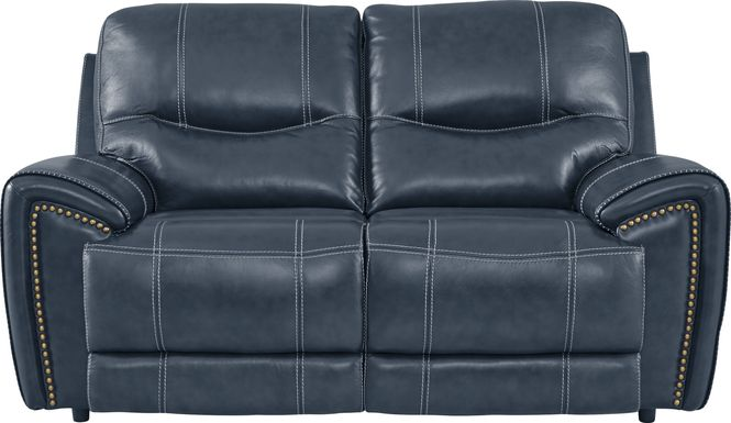 Italo Blue Leather Loveseat
