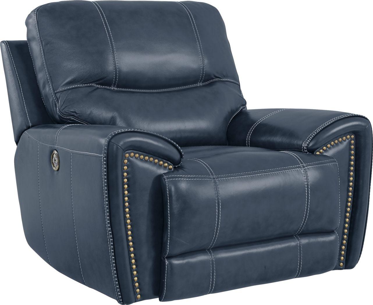 Italo Blue Leather Power Plus Recliner