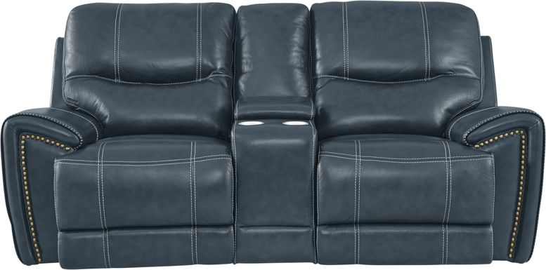 Italo Blue Leather Power Plus Reclining Console Loveseat