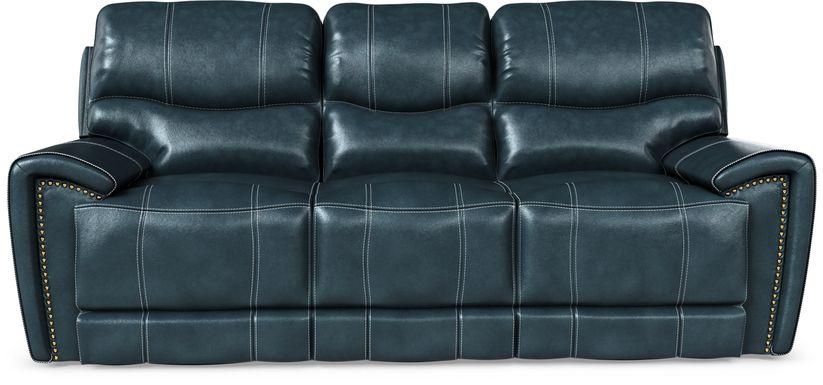 Italo Blue Leather Power Plus Reclining Sofa